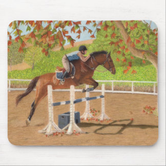 Colorful Horse & Rider Jumping Mouse Pad