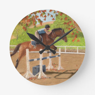 Colorful Horse & Rider Jumping Round Clock