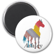 Colorful horse silhouette magnet