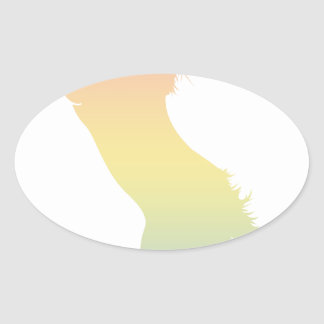 Colorful Horse Oval Sticker
