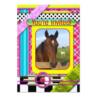 Colorful Horse Themed Kids Birthday Invitation
