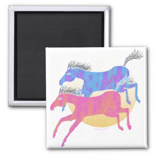 Colorful Horses of the Sun Gifts & Greetings 2 Inch Square Magnet
