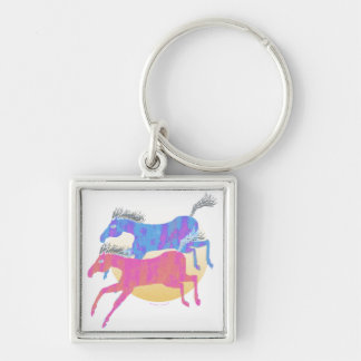 Colorful Horses of the Sun Gifts & Greetings Silver-Colored Square Keychain