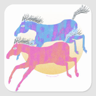 Colorful Horses of the Sun Gifts & Greetings Square Sticker