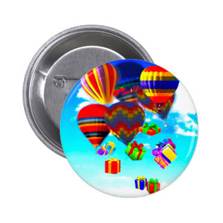 Colorful hot-Air ballonso Pinback Button
