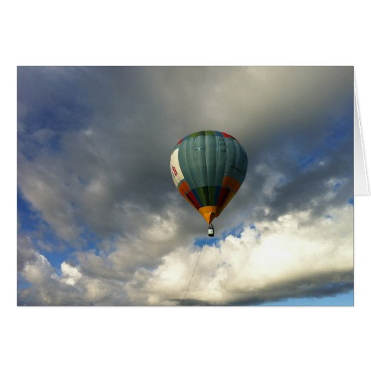Colorful Hot Air Balloon in the Cloudy Sky Card