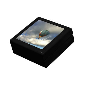 Colorful Hot Air Balloon in the Cloudy Sky Jewelry Box