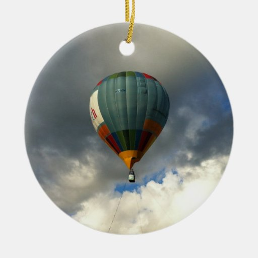 Colorful Hot Air Balloon in the Cloudy Sky Christmas Tree Ornaments