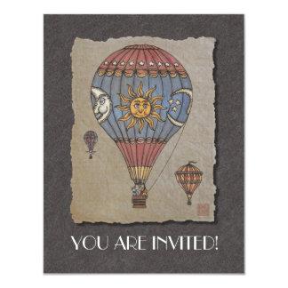 """Colorful Hot Air Balloon 4.25"""" X 5.5"""" Invitation Card"""