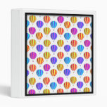 Colorful Hot Air Balloon Pattern 3 Ring Binders