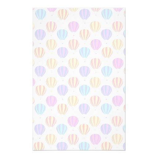 Colorful Hot Air Balloon Pattern Stationery Design