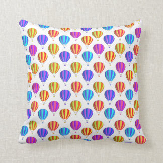 Colorful Hot Air Balloon Pattern Throw Pillow