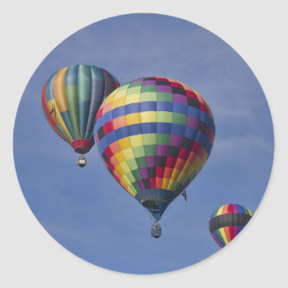 Colorful Hot Air Balloon Race Classic Round Sticker