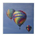 Colorful Hot Air Balloon Race Small Square Tile