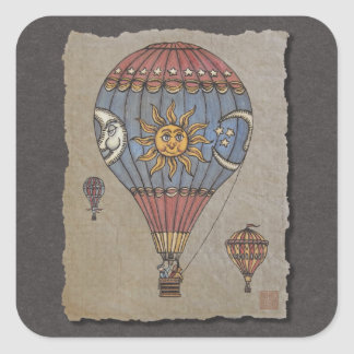 Colorful Hot Air Balloon Square Sticker