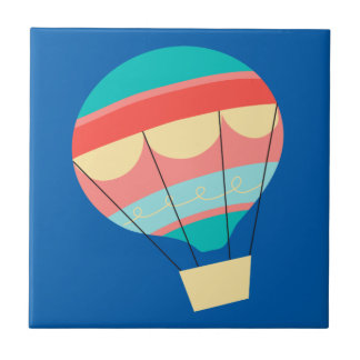 Colorful Hot Air Balloon Small Square Tile