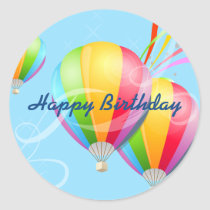Colorful Hot Air Balloons Birthday Sticker
