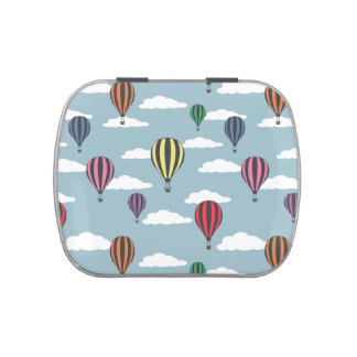 Colorful hot air balloons candy tins