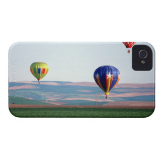 Colorful hot air balloons float over wheat iPhone 4 Case-Mate cases