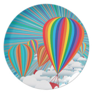 Colorful hot air balloons melamine plate