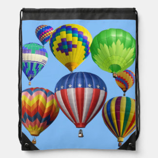 Colorful Hot Air Balloons Drawstring Bags