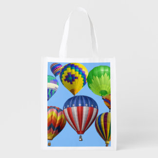 Colorful Hot Air Balloons Reusable Grocery Bags