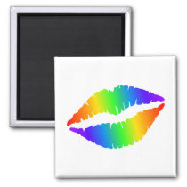 Colorful Hot Lips Square Magnet