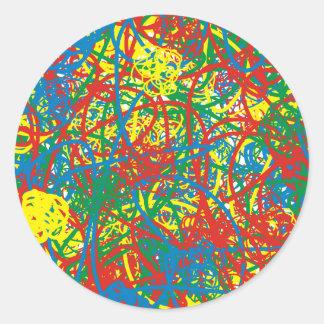 Colorful hot mess blast multi color splash rainbow classic round sticker