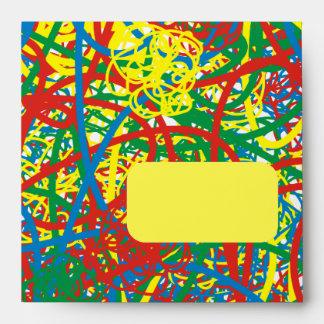Colorful hot mess blast multi color splash rainbow envelope