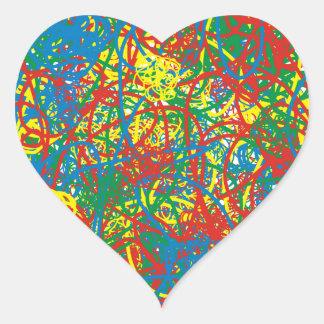 Colorful hot mess blast multi color splash rainbow heart sticker