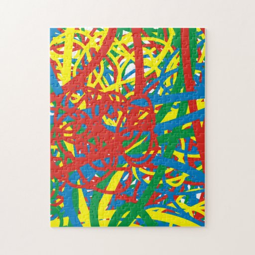 Colorful hot mess blast multi color splash rainbow jigsaw puzzle