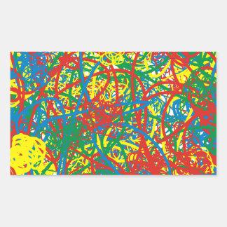 Colorful hot mess blast multi color splash rainbow rectangular sticker