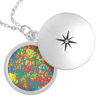 Colorful hot mess blast multi color splash rainbow silver plated necklace