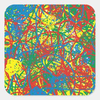 Colorful hot mess blast multi color splash rainbow square sticker