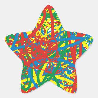 Colorful hot mess blast multi color splash rainbow star sticker