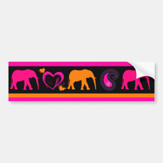 Colorful Hot Pink Orange Elephants Paisley Hearts Bumper Sticker
