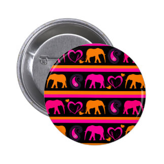 Colorful Hot Pink Orange Elephants Paisley Hearts Pinback Buttons