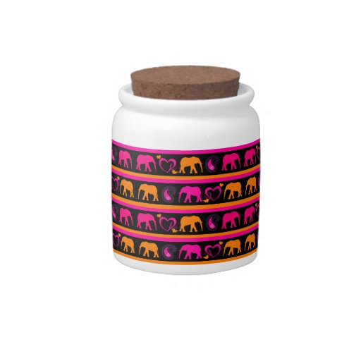 Colorful Hot Pink Orange Elephants Paisley Hearts Candy Jar