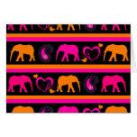 Colorful Hot Pink Orange Elephants Paisley Hearts Greeting Card