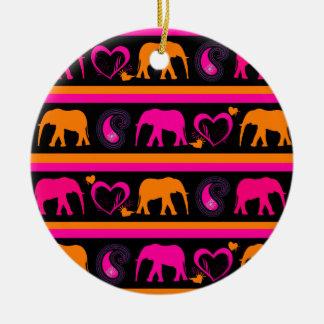 Colorful Hot Pink Orange Elephants Paisley Hearts Ceramic Ornament