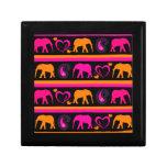 Colorful Hot Pink Orange Elephants Paisley Hearts Trinket Boxes