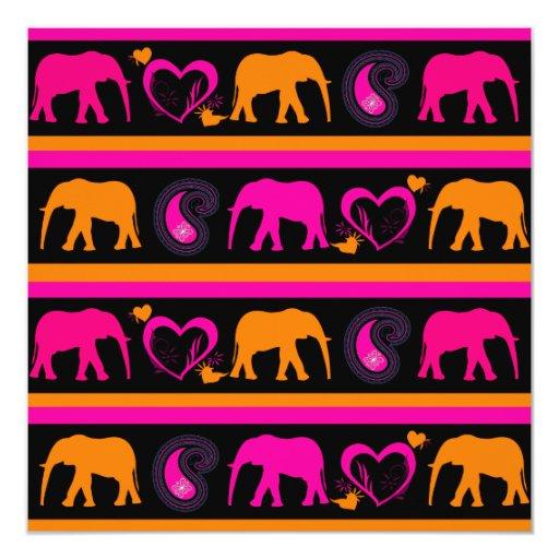 Colorful Hot Pink Orange Elephants Paisley Hearts Personalized Invitations