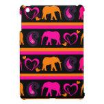 Colorful Hot Pink Orange Elephants Paisley Hearts Cover For The iPad Mini