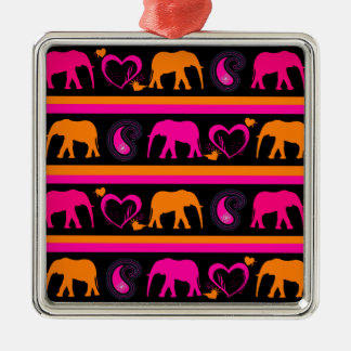 Colorful Hot Pink Orange Elephants Paisley Hearts Metal Ornament