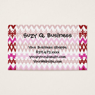 Colorful Hot Pink Red Tribal Chevron Pattern Business Card