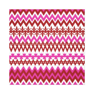 Colorful Hot Pink Red Tribal Chevron Pattern Canvas Print