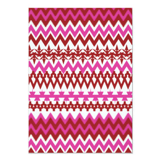 Colorful Hot Pink Red Tribal Chevron Pattern Card