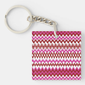 Colorful Hot Pink Red Tribal Chevron Pattern Double-Sided Square Acrylic Keychain