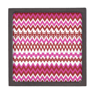 Colorful Hot Pink Red Tribal Chevron Pattern Jewelry Box