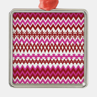 Colorful Hot Pink Red Tribal Chevron Pattern Metal Ornament